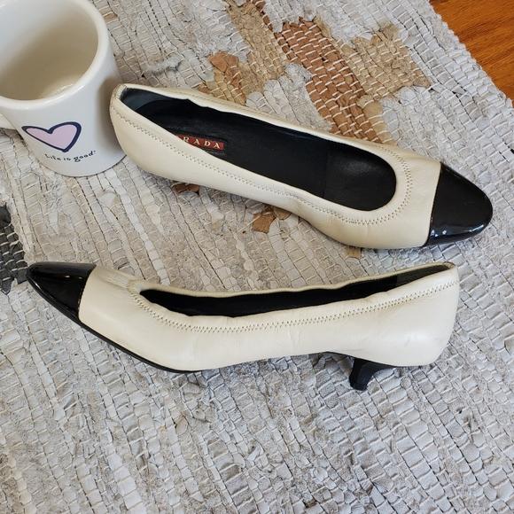 Prada Shoes | Prada Cream W Black Toe Kitten Heel 38